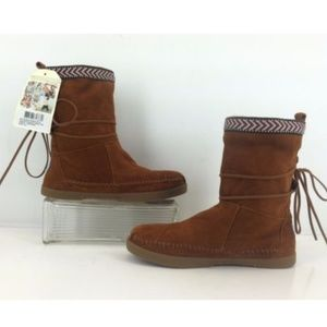 Toms Nepal Boots Chestnut Suede With Trim 6.5